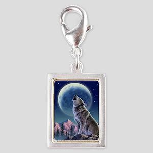 WOLF Silver Portrait Charm