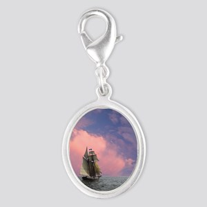 Top-sails flying Silver Oval Charm