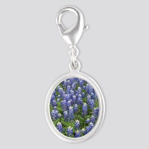 Field of Bluebonnets Silver Oval Charm