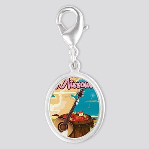 Missouri vintage cartoon travel Silver Oval Charm