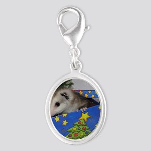 Opossum Christmas Present Silver Oval Charm