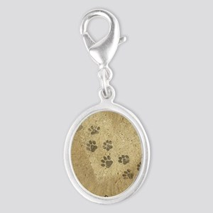 Paw Prints on our Hearts Silver Oval Charm