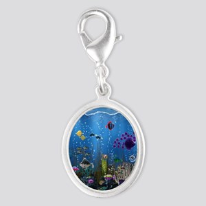 Underwater Love Silver Oval Charm