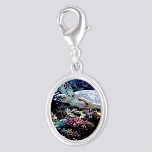 Sea Turtle Silver Oval Charm