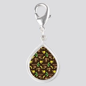 Monkeys Bananas Brown Silver Teardrop Charm
