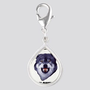 Courage Wolf Silver Teardrop Charm