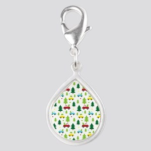Christmas Tree Holiday Fun Silver Teardrop Charm