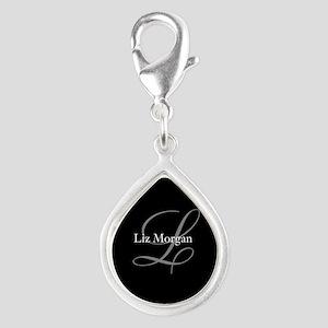 Elegant Black Monogram Silver Teardrop Charm