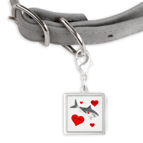 Personalized Shark Valentine Small Square Pet Tag