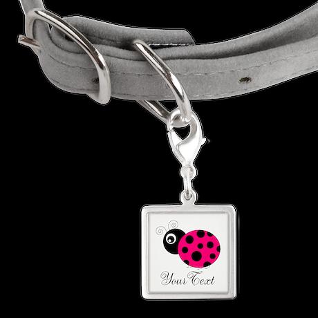 Pesronalizable Pink and Black Ladybug Pet Tags