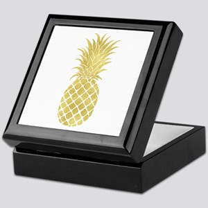 Gold Glitzy Pineapple Keepsake Box