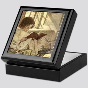 Vintage Books in Winter, Child Readin Keepsake Box