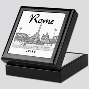 Rome_10x10_v1_Black_Piazza del Popolo Keepsake Box