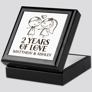 2nd Wedding Anniversary Personalized Keepsake Box