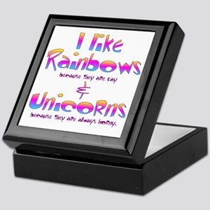 I LIke Rainbows  Unicorns Centered Keepsake Box