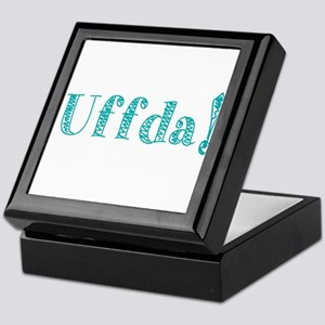 Uffda Turquoise Text Keepsake Box