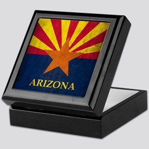 Grunge Arizona Flag Keepsake Box