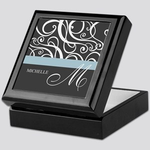 Elegant Grey White Swirls Monogram Keepsake Box