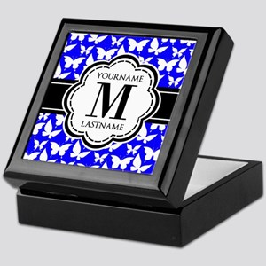 Royal Blue Butterflies, Black Monogra Keepsake Box