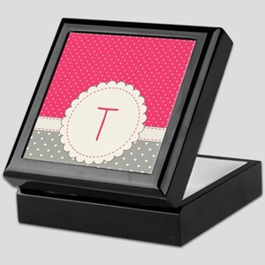 Cute Monogram Letter T Keepsake Box