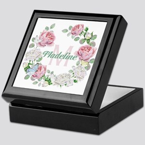 Rose Butterfly Floral Monogram Keepsake Box
