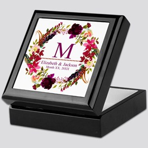 Boho Wreath Wedding Monogram Keepsake Box