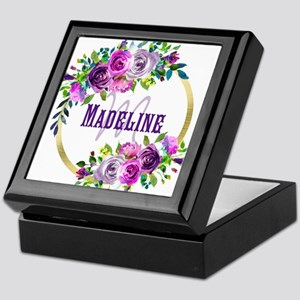 Purple and Gold Monogram Keepsake Box