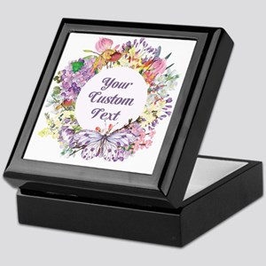 Custom Text Floral Wreath Keepsake Box
