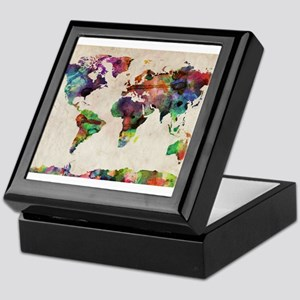 World Map Urban Watercolor 14x10 Keepsake Box