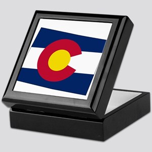 Colorado State outline Map and Flag Keepsake Box