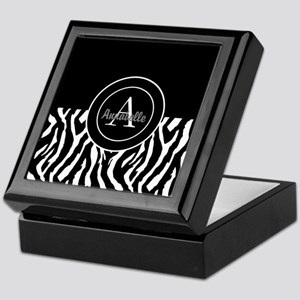 Black White Zebra Monogram Personalized Keepsake B