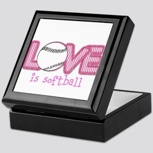 Love is Softball : Pink Keepsake Box