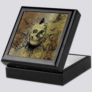 Skull and crow with floral elements Keepsake Box