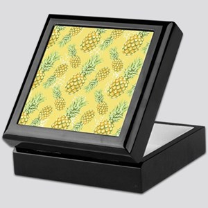 Tropical Pineapple on Pastel Yellow Keepsake Box