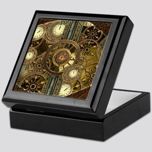 Steampunk, awessome clocks with gears Keepsake Box