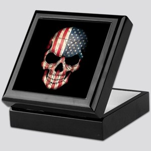 American Flag Skull Keepsake Box