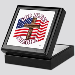 God Bless America With USA Flag and Cross Keepsake