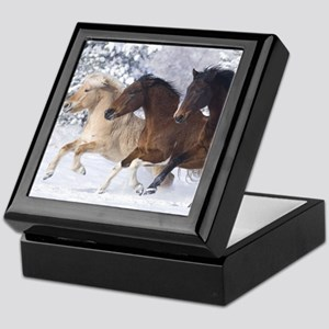 Horses Running In The Snow Keepsake Box