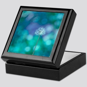 Dandelion with blue and green backgro Keepsake Box