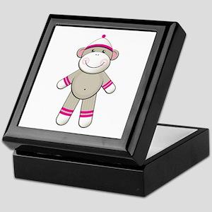 Pink Sock Monkey Keepsake Box