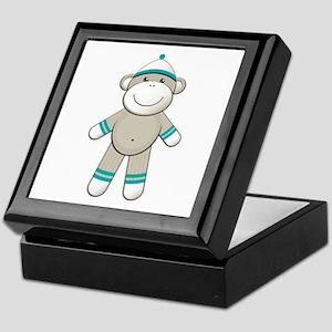 Aqua Sock Monkey Keepsake Box