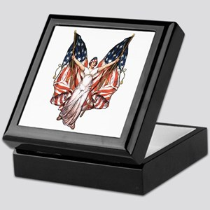 Vintage American Flag Art Keepsake Box