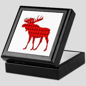 Moose: Rustic Red Plaid Keepsake Box