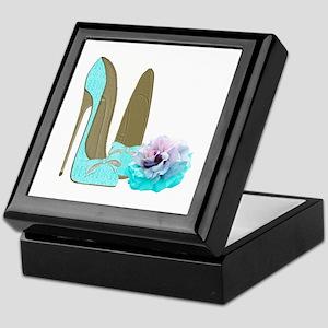 Turquoise Lace Stilettos and Rose Art Keepsake Box