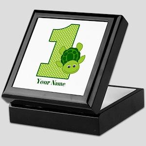 Personalized Turtle 1st Birthday Keepsake Box
