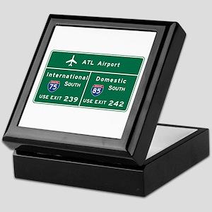 Atlanta Airport, GA Road Sign, USA Keepsake Box
