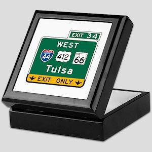 Tulsa, OK Highway Sign Keepsake Box