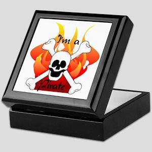 Flames Skull and Crossbones Keepsake Box