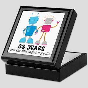 33 Year Anniversary Robot Couple Keepsake Box