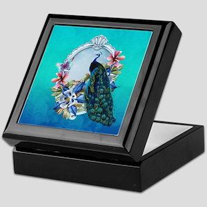 Peacock Design With Flowers Keepsake Box